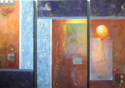 filamente-triptych-fresco-in-oils-with-metal-inlay-acrylic-sand-and-shell-boarder-each-panel-24x36-for-a-total-of-3x6-4800