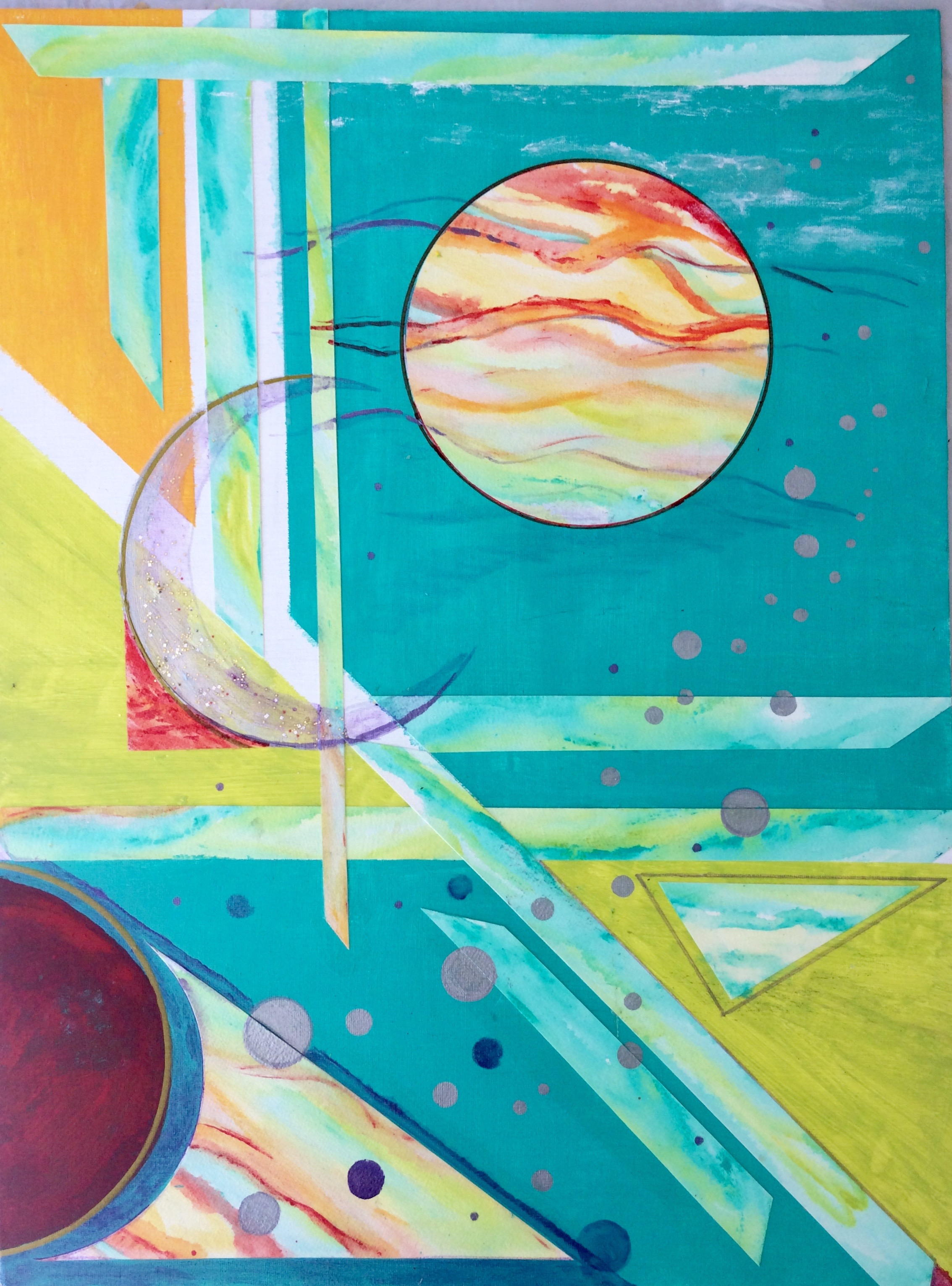 """'Cosmic Glide'; 18""""x24""""; acrylic painting / collage; $650.00"""