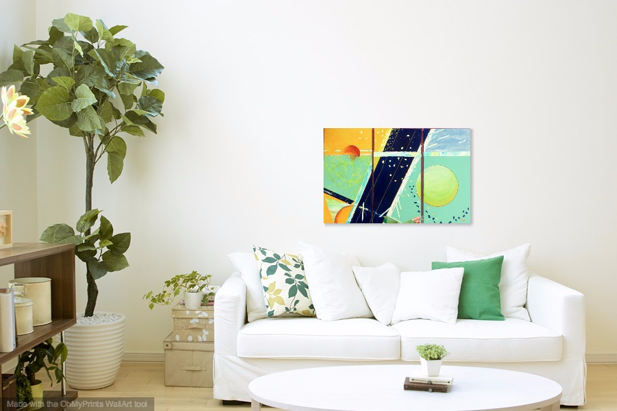 'Day And Night Triptych over Couch' The structure and flow of this painting along its contemporary 3 panel presentation will give your living space an eccentric focus. Find this painting under my 'Most Recent Paintings' tab