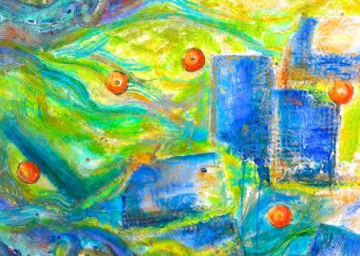 'Miami Beach'; acrylic painting on canvas, highly textured with glass tile inlay and sand; 48x60; $3600.00