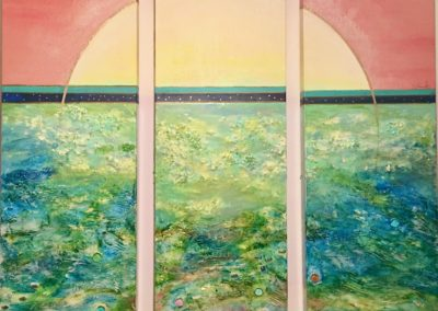 'Sunset Over Ocean'; triptych